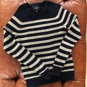 American Eagle Stripe Sweater Mens XS Navy Gray